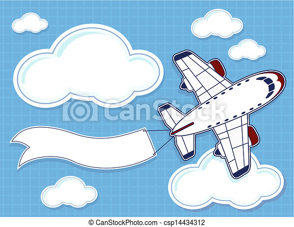 Vector Clip Art of funny airplane with blank banner - illustration ...