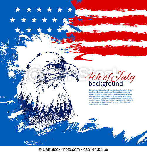 4th of July background with American flag. Independence Day vintage hand drawn design - csp14435359