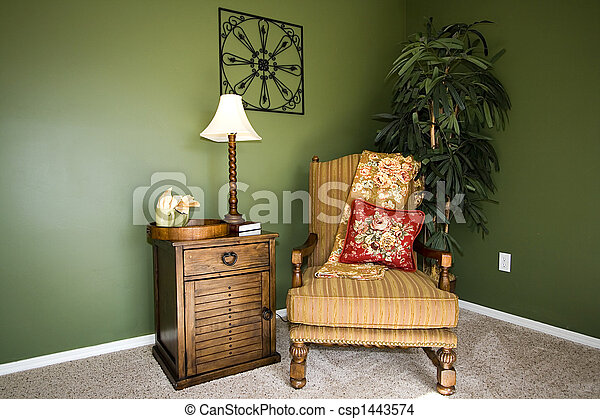 Family Room with Reading Chair and night stand - csp1443574