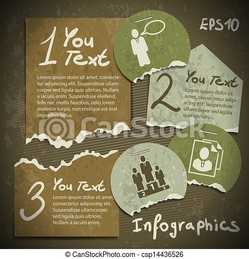 set of infographics from torn pieces of paper in vintage style scrapbooking - csp14436526