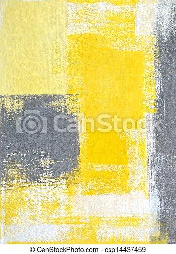 Grey and Yellow Abstract Art - csp14437459