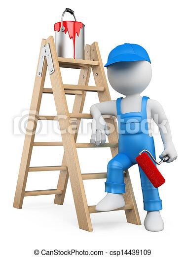 Stock de ilustration de gente escalera blanco pintor for Escalera pintor