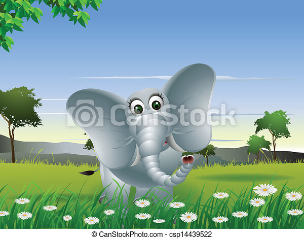Forest Elephant Drawing Elephant Cartoon on Forest