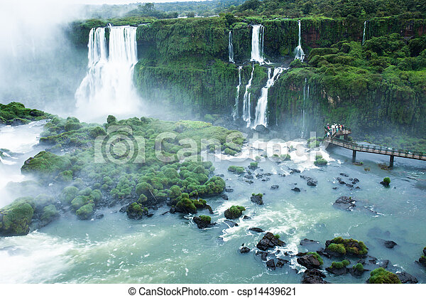 Iguassu Falls, the largest series of waterfalls of the world, located at the Brazilian and Argentinian border, View from Brazilian side - csp14439621