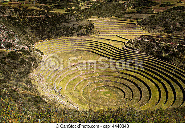 Peru, Moray, ancient Inca circular terraces. Probable there is the Incas laboratory of agriculture - csp14440343