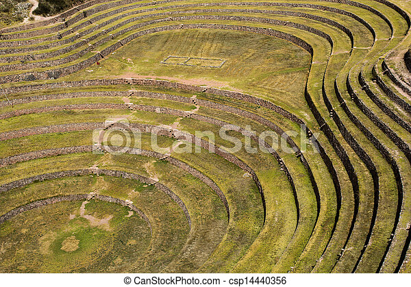 Peru, Moray, ancient Inca circular terraces. Probable there is the Incas laboratory of agriculture - csp14440356