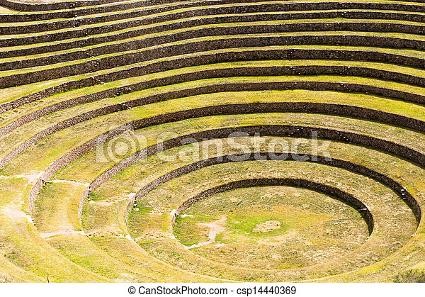 Peru, Moray, ancient Inca circular terraces. Probable there is the Incas laboratory of agriculture - csp14440369