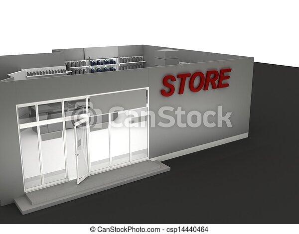 Illustration of automobile store - minimarket - csp14440464