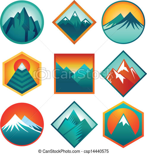 Vector set with abstract logos  - mountains - csp14440575
