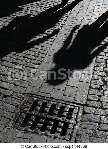 sombras, rua, pessoas - csp1444069