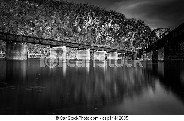 Train bridges crossing the Potomac River, in Harper's Ferry - csp14442035