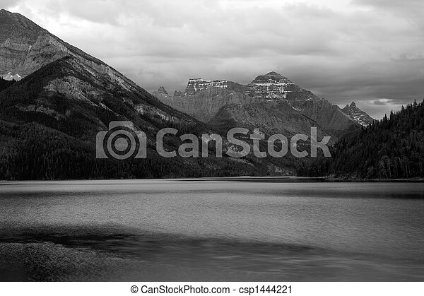 Black and white Waterton. - csp1444221