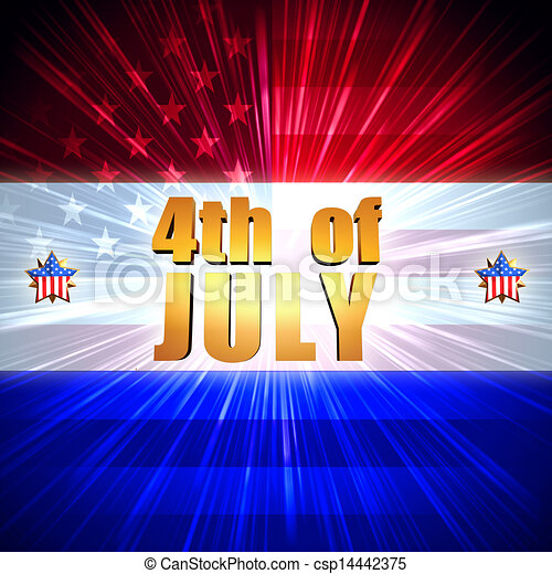 4th of July with shining american flag and stars - csp14442375