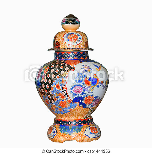 Chinese vase on a white background - csp1444356