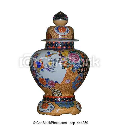 Chinese vase on a white background - csp1444359