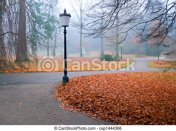 autumn park with lanterns - csp1444366