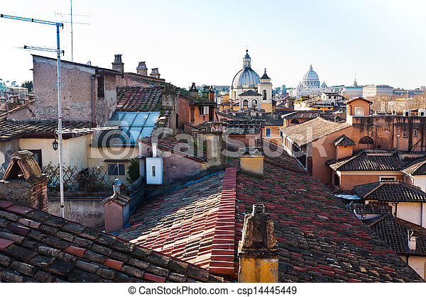 old residential district in Rome - csp14445449