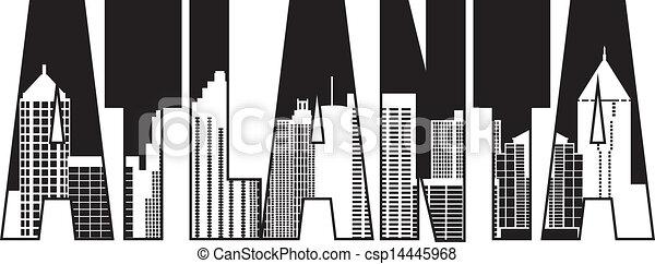 Atlanta Georgia City Text Outline Illustration - csp14445968