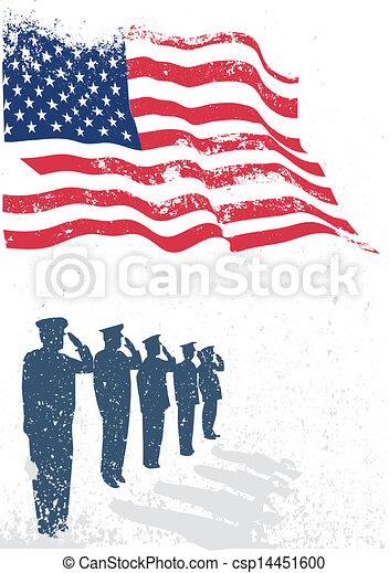 USA flag with soldiers saluting. - csp14451600