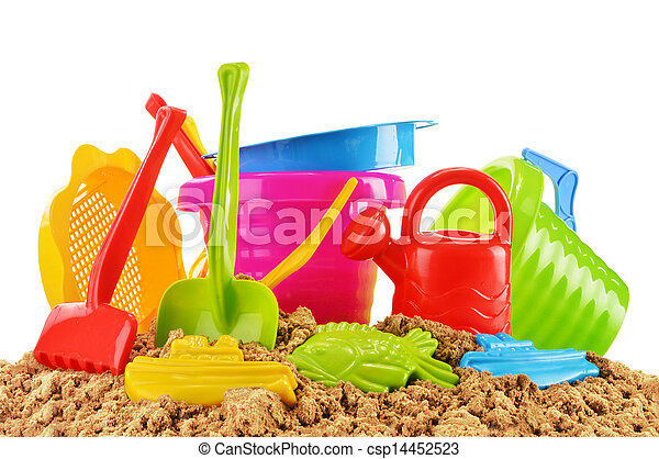 Plastic children toys for playing in sandpit or on a beach - csp14452523