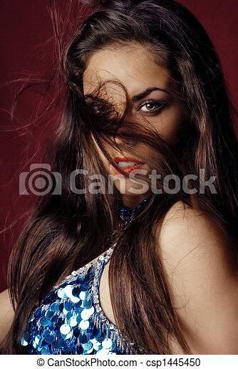 Windy portrait of belly dancer - csp1445450