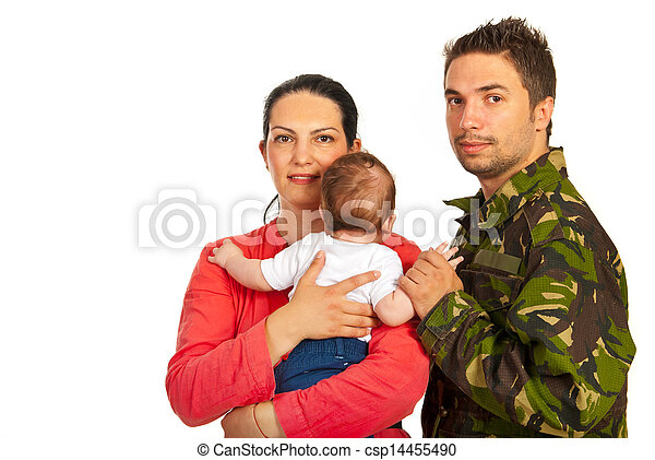 Happy family with military father - csp14455490
