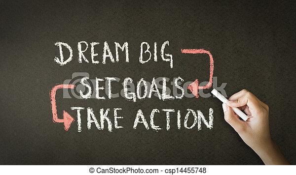 sätta, Krita, ta, Stor, handling, mål, dröm, teckning - csp14455748