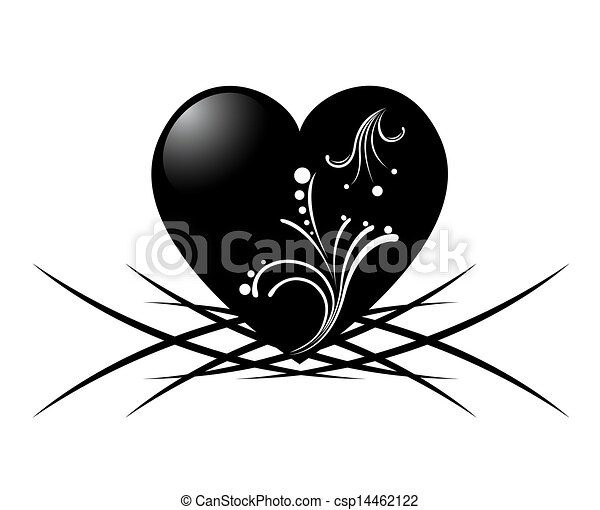 vector black and white tattoo of a heart w