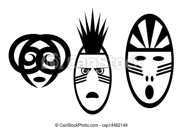 EPS Vector of set of black and white African mask - The figure ...