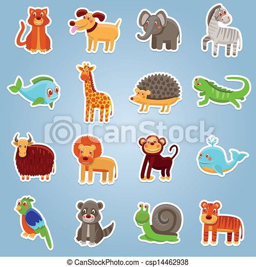 Vector collection with 16 cartoon animals - csp14462938