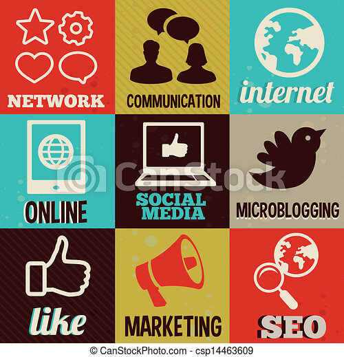 retro labels with social media and interne - csp14463609