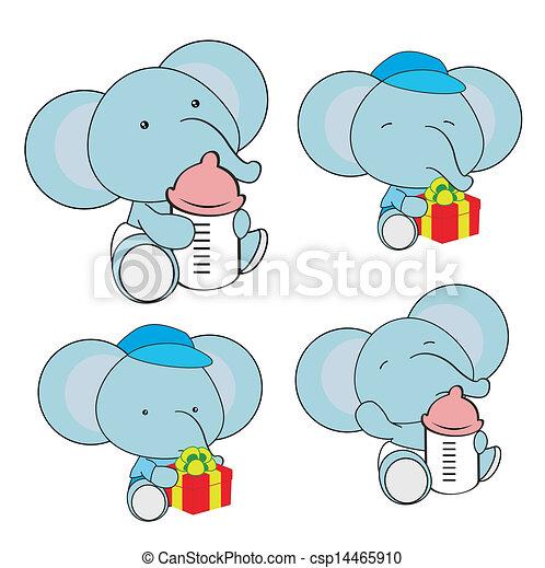 Clip Art Vecteur de Éléphant, bébé, couche, dessin animé ...