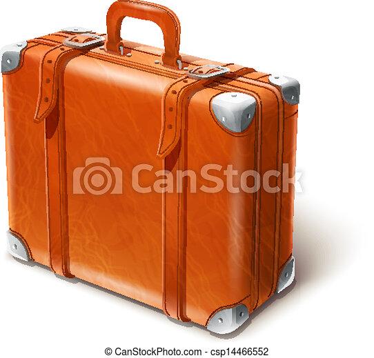 Clipart vettoriali di cuoio, grande, valigia, vettore ...