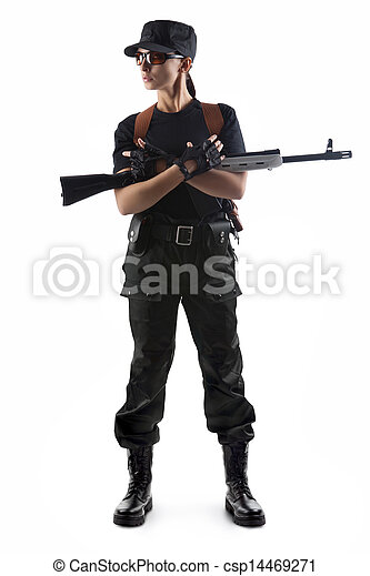 Police officer is holding Kalashnikov - csp14469271