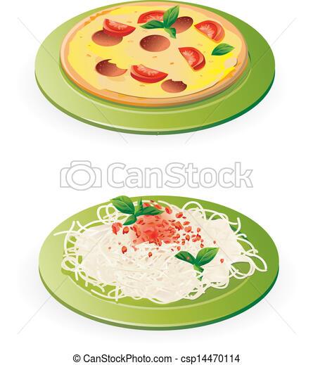 Vector - Italian meals - pasta and pizza - vector - stock illustration ...