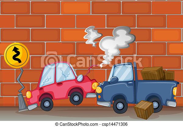 Clipart vecteur de mur voiture accident illustration de a voiture csp14471306 - Accident de voiture dessin ...