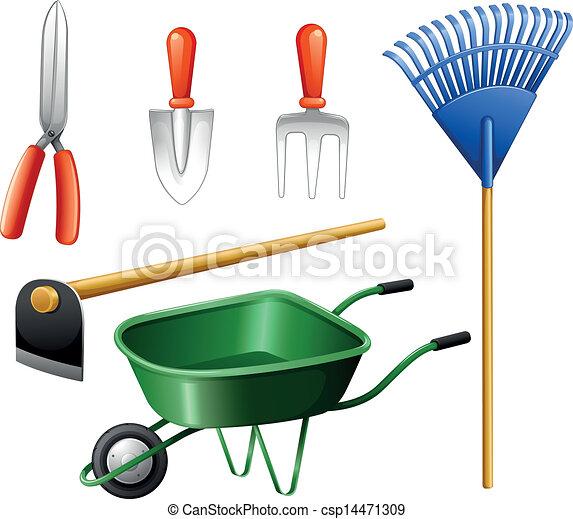 Vector clipart of gardening tools illustration of the for Gardening tools clipart