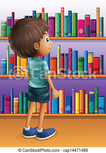 Vector of A boy searching a book in the library - Illustration of ...