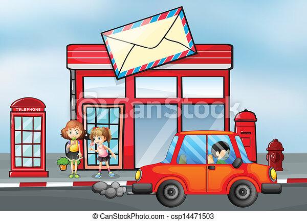Clipart vecteur de devant voiture poste bureau orange for Bureau de poste rousset 13