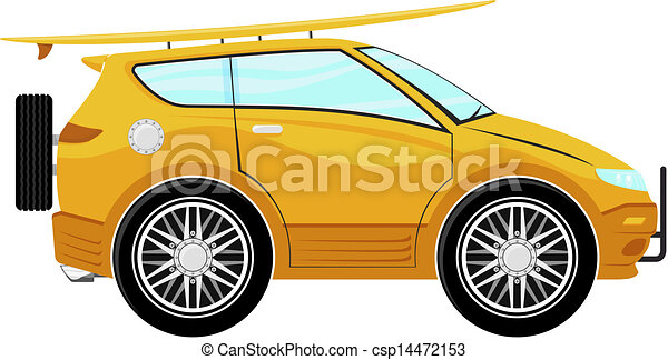 Clipart Vector of funny car cartoon with surfboard isolated on ...