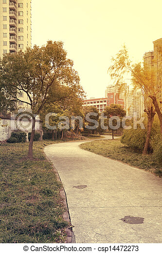 Forest paths  in the city's residential district - csp14472273