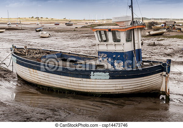 Stock Photo Of Old Wooden Fishing Boat On Mud Flats At