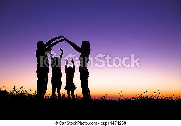 家族, 印, 丘, 作成, 家, 幸せ - csp14474258