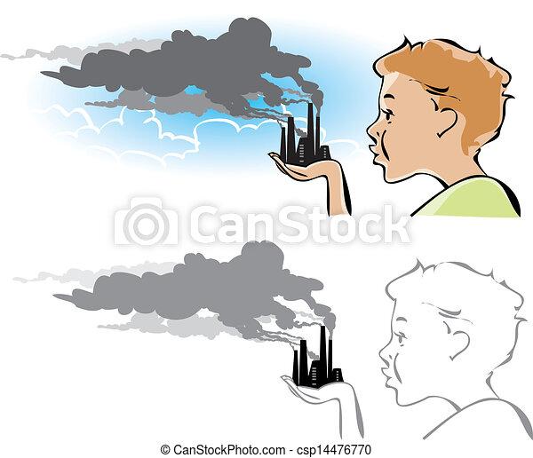 有关环境, 污染 - 卡通漫画