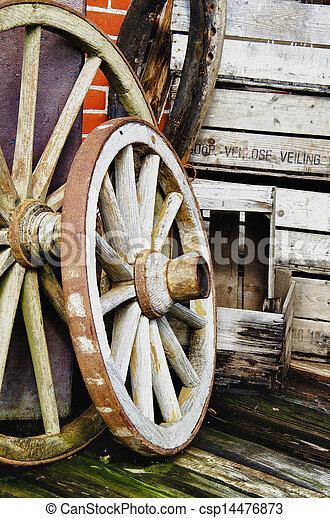 Vintage wagon wheels - HDR - csp14476873
