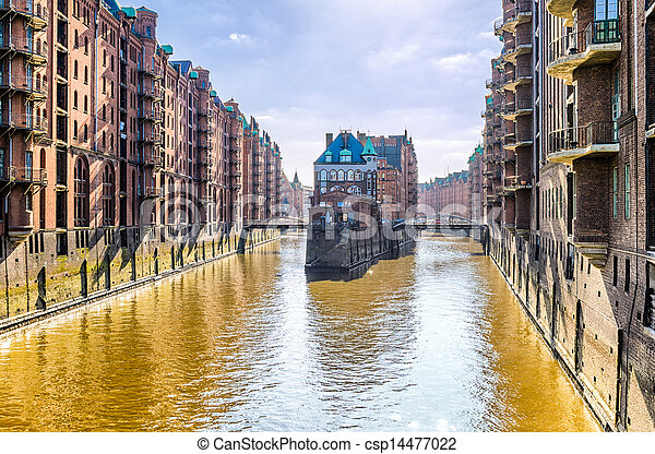 The historic Speicherstadt, Hamburg - csp14477022
