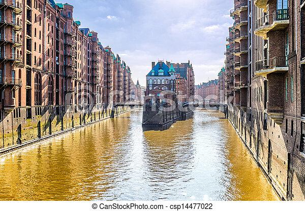 The historic Speicherstadt, Hamburg - csp14477022