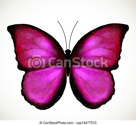Vector Clip Art of Bright Pink Butterfly. Vector - Bright ...