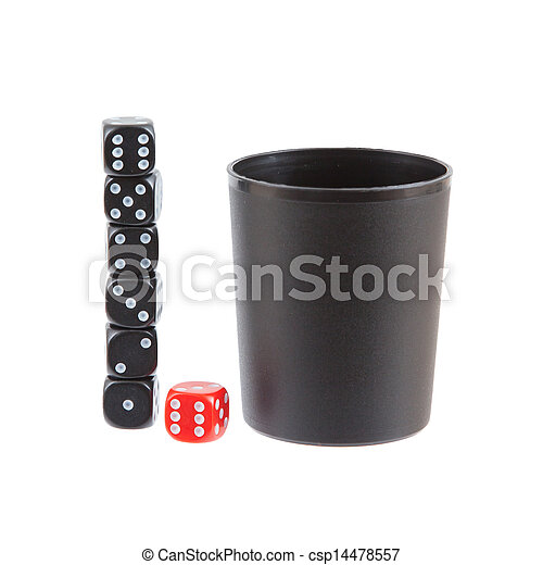 Gambling background with dice and dice cup - csp14478557