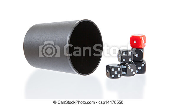 Gambling background with dice and dice cup - csp14478558